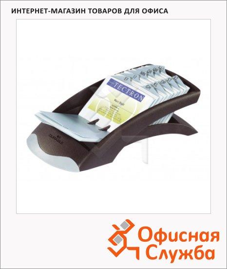 Картотека для визиток Durable Visifix Desk на 200 карточек, 245х131х67мм, черно-серебристая, 2413-01