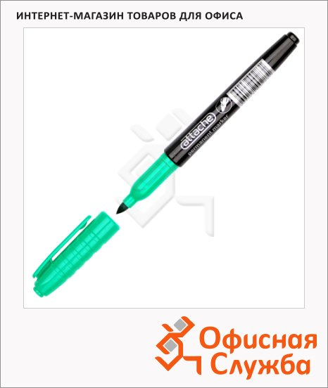 фото: Маркер перманентный Attache зеленый 1.5-3мм, круглый наконечник