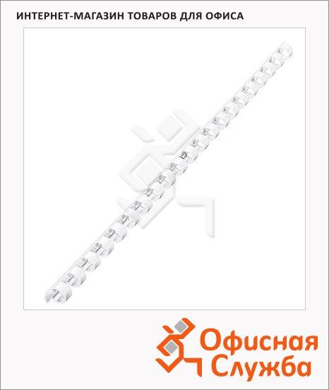 Пружины для переплета пластиковые Gbc белые, на 40-70 листов, 10мм, 100шт, кольцо