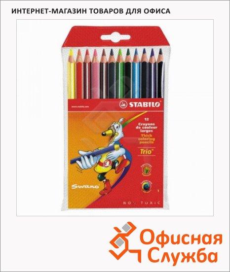 фото: Набор цветных карандашей Trio 203 12 цветов утолщенные, утолщенные