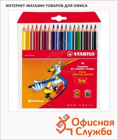 Набор цветных карандашей Stabilo Trio Jumbo 18 цветов, 203/18-03
