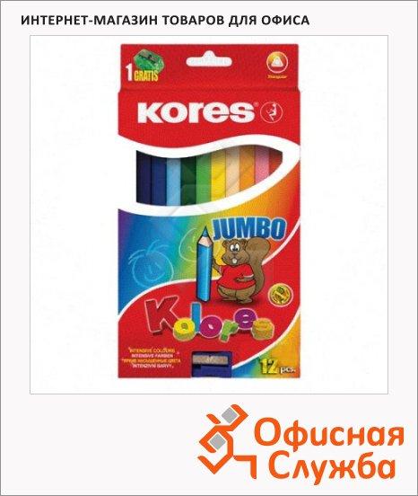 Набор цветных карандашей Kores 12 цветов, трехгранные, с точилкой, 93312.01
