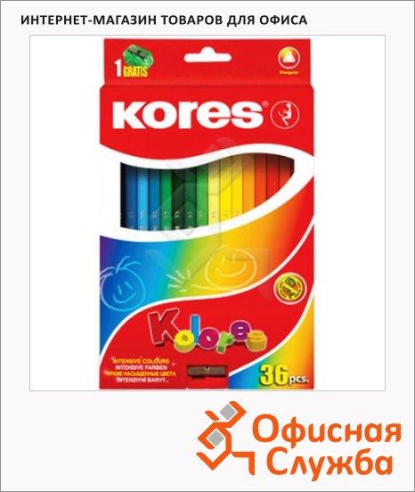 Набор цветных карандашей Kores 36 цветов, трехгранные, с точилкой, 93336.01