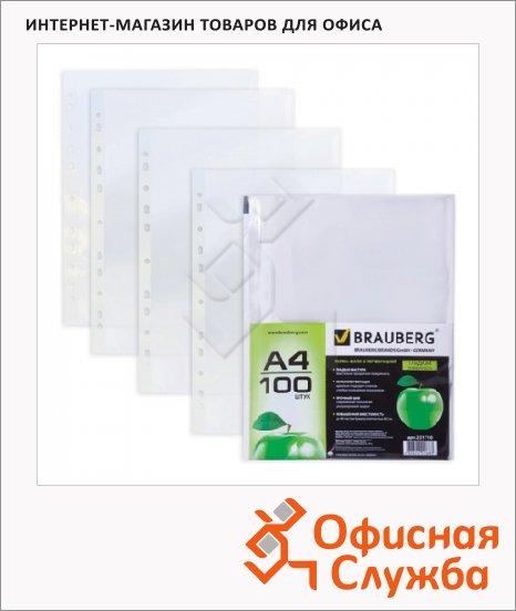 фото: Файл-вкладыш А4 Brauberg прозрачный 45 мкм, 100 шт/уп, гладкие,