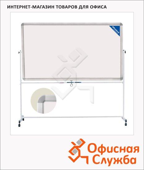 фото: Доска мобильная вращающаяся Brauberg 90х120см белая, лаковая, магнитная маркерная, алюминиевая рама, на роликах