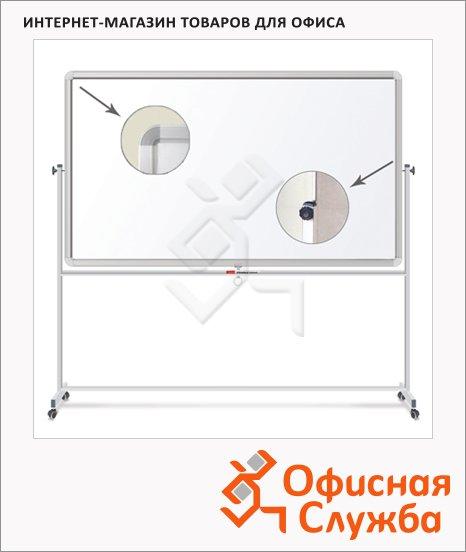 фото: Доска мобильная вращающаяся Brauberg 60х90см белая, лаковая, магнитная маркерная, алюминиевая рама, на роликах