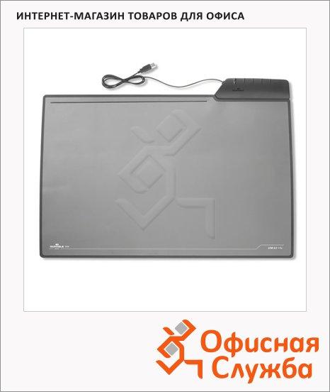 Коврик настольный для письма Durable 43.5х68см, с USB, черный, 721501