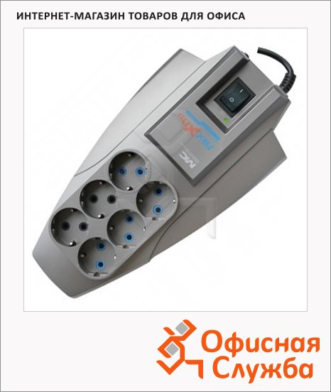 Сетевой фильтр Pilot Zis X-Pro 6 розеток, серый, 1.8м