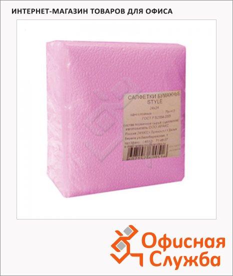 Салфетки Style розовые, 24х24см, 1 слой, 75шт