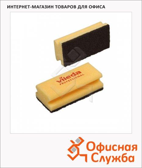 Губка Vileda Pro Виледа 9.5x7см, желтая, черный абразив, 108777