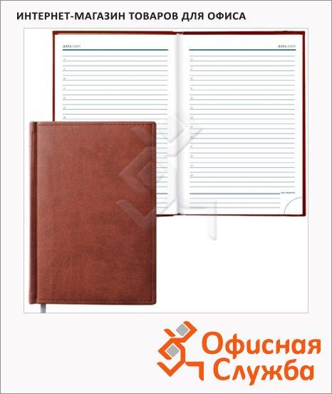 Ежедневник недатированный Erich Krause Vivella коричневый, А5, 176 листов, гладкая кожа