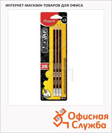 Набор чернографитных карандашей Maped Black Pep's 2В, трехгранные, с ластиком, 3шт