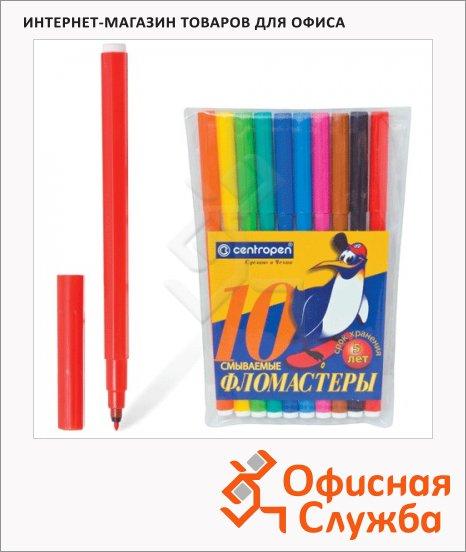 фото: Фломастеры для рисования Centropen Пингвины 7790 10 цветов смываемые