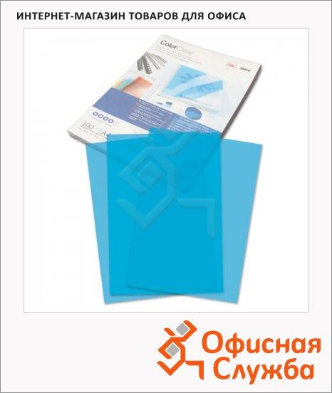 Обложки для переплета пластиковые Gbc Color Clear синие, А4, 180 мкм, 100шт