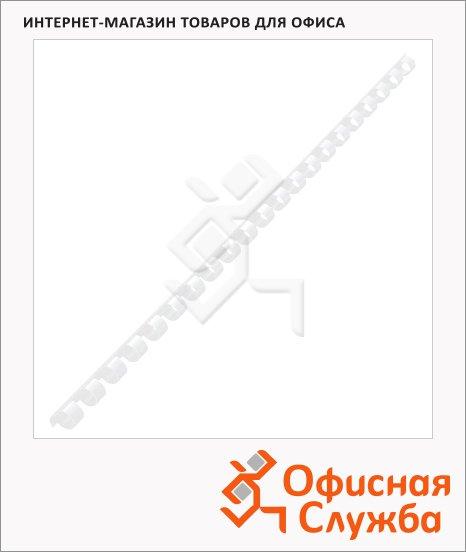 Пружины для переплета пластиковые Gbc белые, на 20-30 листов, 8мм, 100шт, кольцо