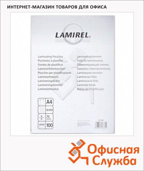 фото: Пленка для ламинирования Lamirel 75мкм 100шт, 216х303 мм, глянцевая