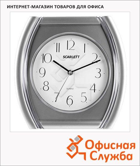 фото: Часы настенные Scarlett бело-серебристые 28.6х28.6х4см, четырехугольные, SC-55QU