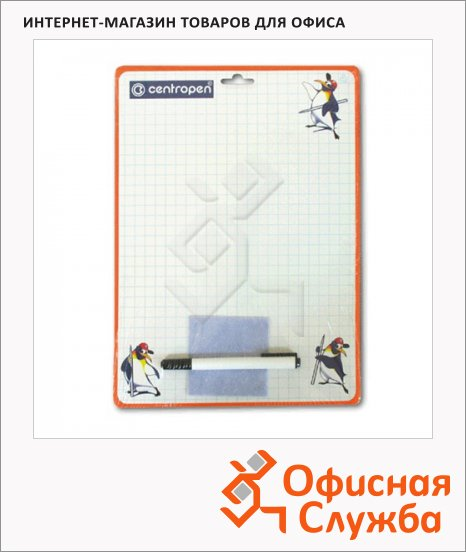фото: Доска маркерная Centropen 24х33.7см белая, пластиковая, в клетку, оранжевая рама