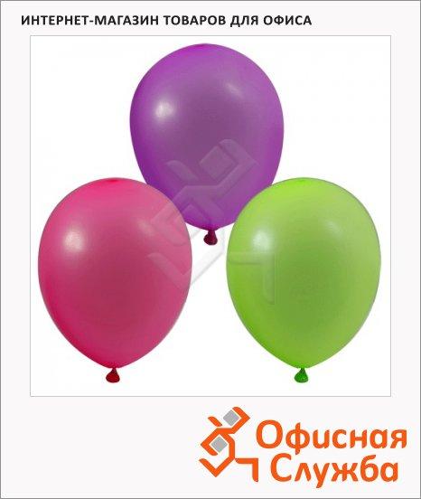 фото: Воздушные шары Веселая Затея 12 неоновых цветов 25см, 100шт, в пакете, 1101-0002