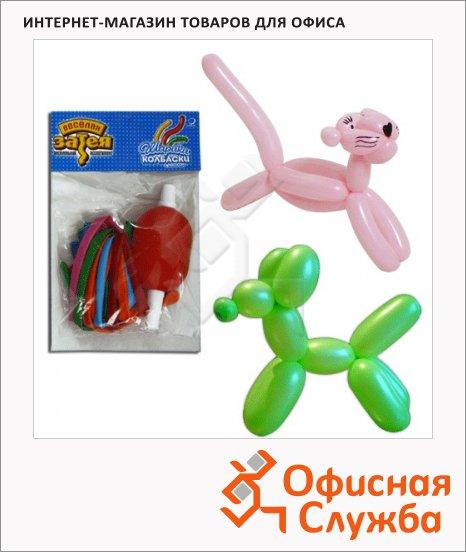фото: Воздушные шары Веселая Затея в комплекте с насосом, 10шт, в пакете, для моделирования, 1111-0120