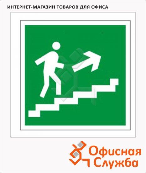 Знак Направление к эвакуационному выходу по лестнице направо вве 200х200мм, самоклеящаяся пленка ПВХ, Е15