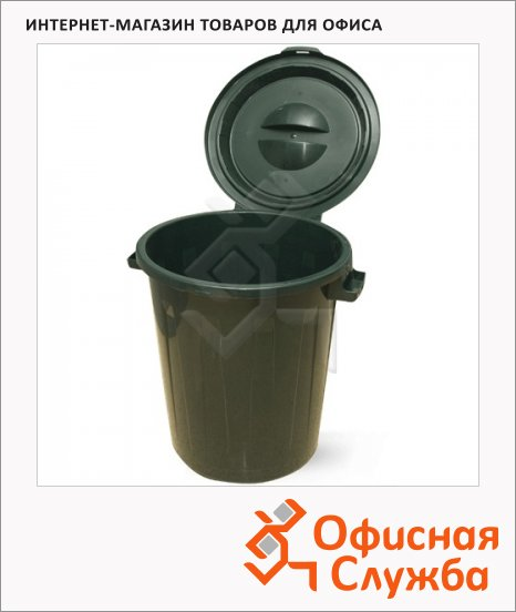 Бак для мусора М-Пластика 90л, зеленый, с крышкой, M 2394