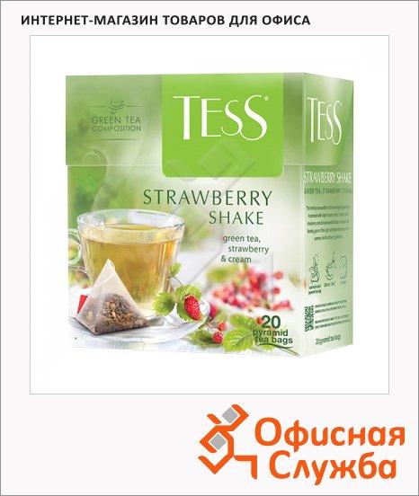 фото: Чай Strawberry Shake (Строуберри Шейк) зеленый, в пирамидках, 20 пакетиков