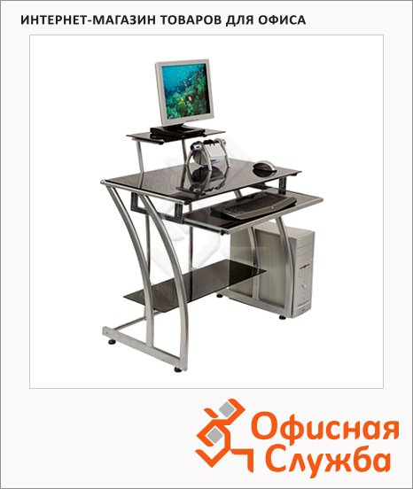 Стол компьютерный Buro GD-010 стекло, черный, металлокаркас, 800х510х925мм