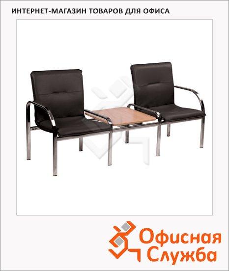 Кресло посетителя Nowy Styl Staff 2T иск. кожа, на ножках, двухсекционное, хром, черная