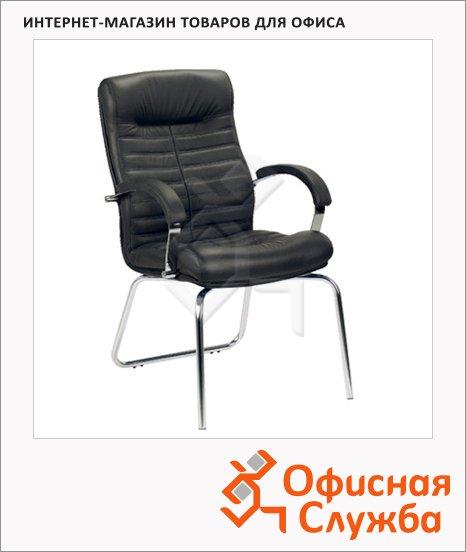 Кресло посетителя Nowy Styl Orion CFA нат. кожа, на ножках, черная