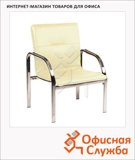 Кресло посетителя Nowy Styl Staff иск. кожа, на ножках, хром, бежевая