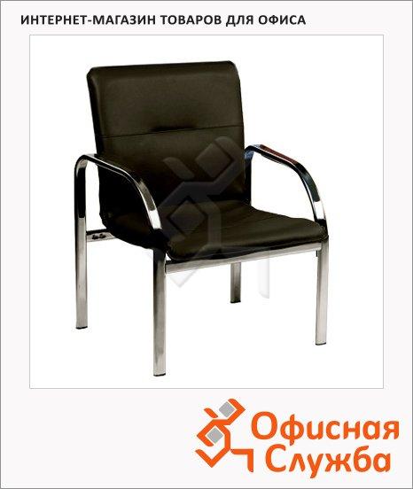 Кресло посетителя Nowy Styl Staff иск. кожа, на ножках, хром, черная