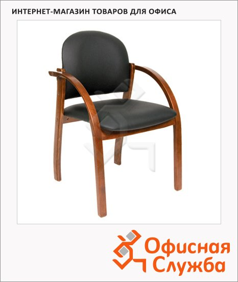 Кресло посетителя Chairman 659 иск. кожа, черная, матовая, на ножках, темный орех