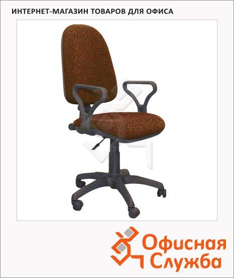 Кресло офисное Бюрократ Престиж ткань, крестовина пластик, коричневая