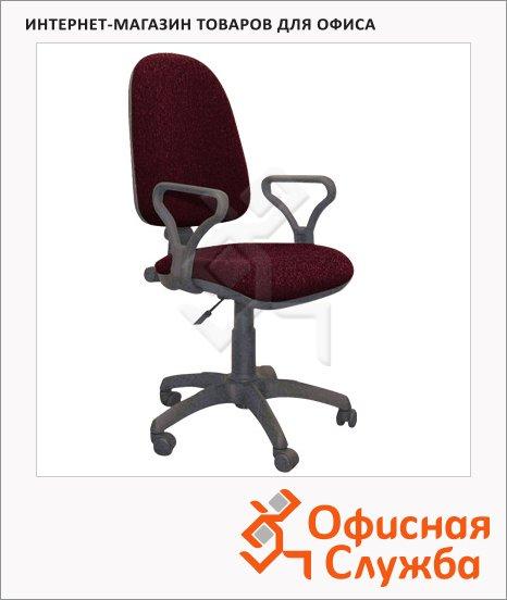 Кресло офисное Бюрократ Престиж ткань, крестовина пластик, черная, бордовая