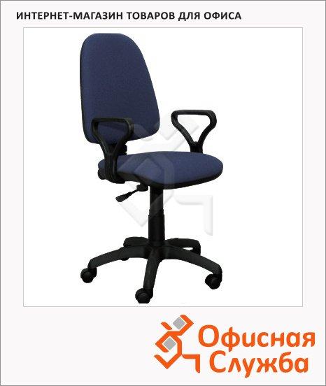 Кресло офисное Бюрократ Престиж ткань, крестовина пластик, черная, синяя