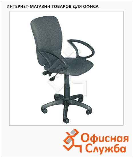 Кресло офисное Бюрократ Эмир ткань, серая, крестовина пластик