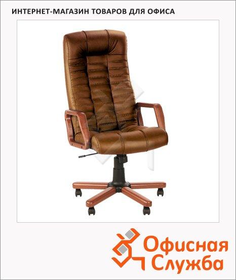 фото: Кресло руководителя Nowy Styl Atlant extra нат. кожа крестовина дерево, коричневая