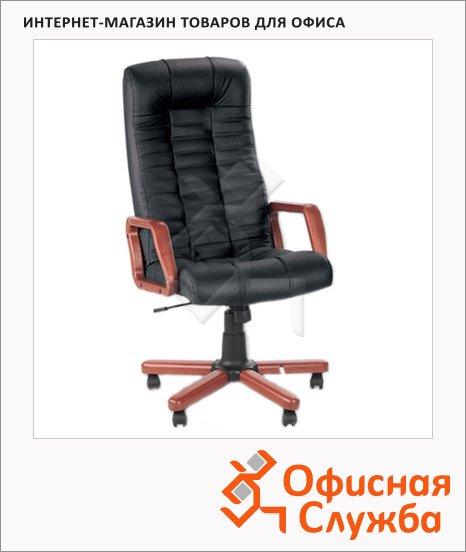 Кресло руководителя Nowy Styl Atlant extra нат. кожа, крестовина дерево, черная