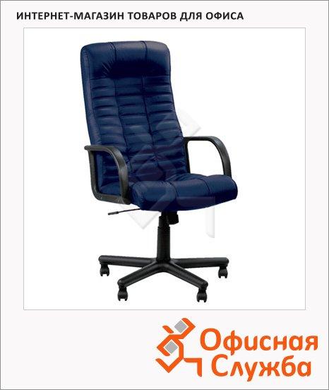 фото: Кресло руководителя Nowy Styl Atlant нат. кожа крестовина пластик, синяя, темная