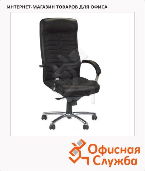 Кресло руководителя Nowy Styl Orion steel нат. кожа, крестовина хром, черная