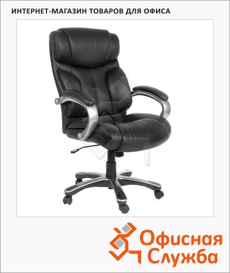 фото: Кресло руководителя 435 нат. кожа крестовина пластик, черная