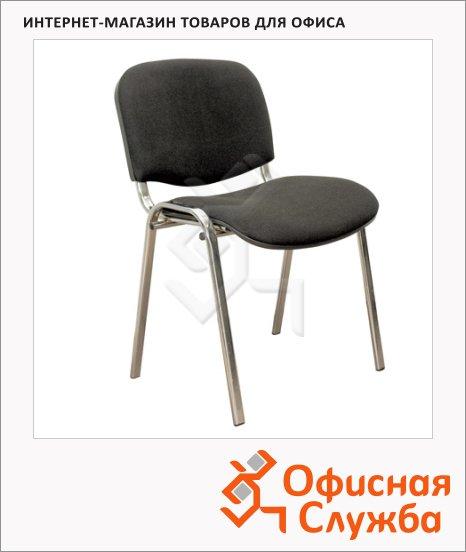 Стул посетителя Furniture Изо ткань, на ножках, хром, черная