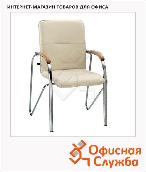 фото: Кресло посетителя Nowy Styl Samba иск. кожа на ножках, хром, бежевая