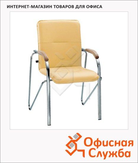 Кресло посетителя Nowy Styl Samba иск. кожа, на ножках, хром, песочная
