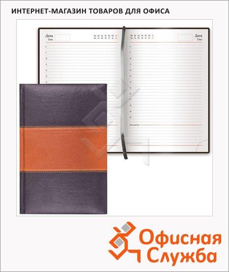 фото: Ежедневник недатированный Brauberg Flagman чёрный А5, 168 листов, комбинированная под гладкую кожу
