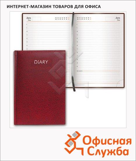 фото: Ежедневник недатированный Brauberg Profile бордовый А5, 168 листов, под фактурную кожу