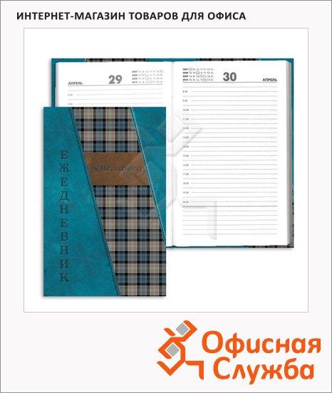 фото: Ежедневник полудатированный Brauberg синяя шотландка А5, 192 листа