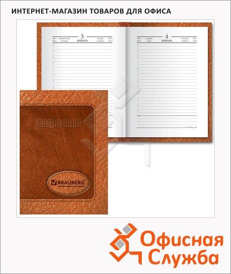 фото: Ежедневник полудатированный Brauberg коричневый А6, 208 листов