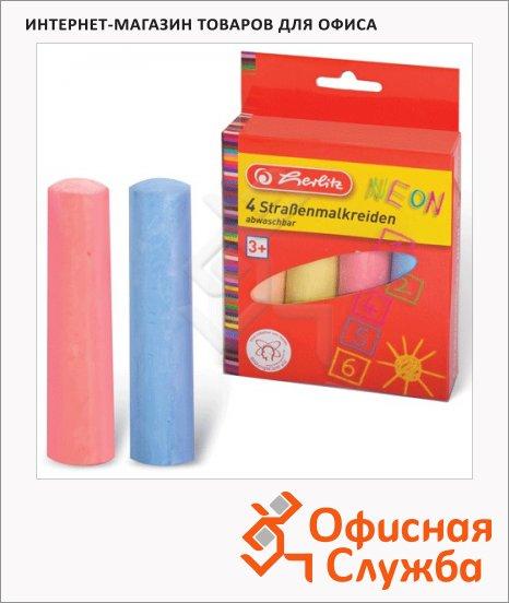 фото: Набор мелков для асфальта 4 цвета неоновые